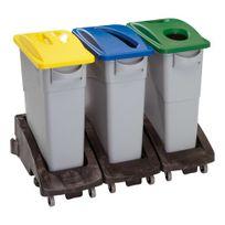 Rubbermaid - Poubelle à déchets 60 litres tri sélectif avec poignée grise