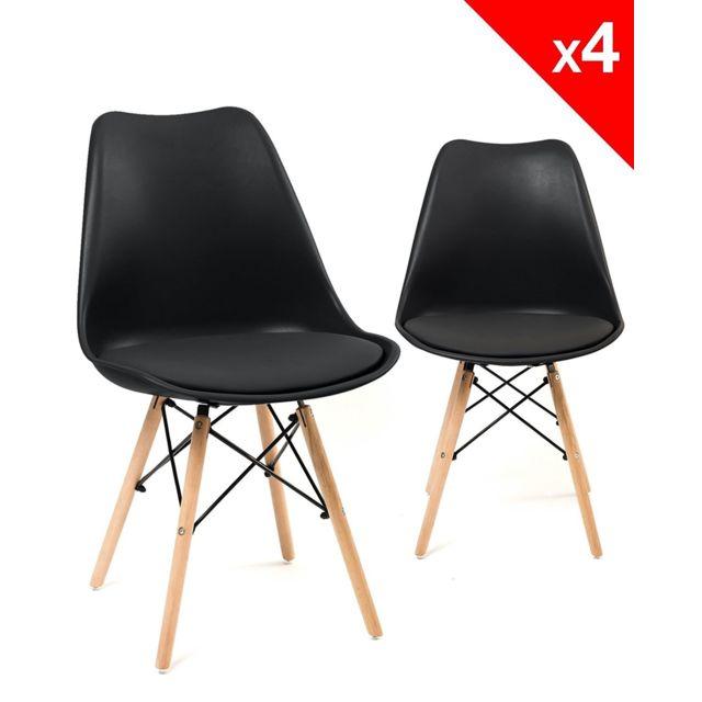 kayelles chaise scandinave nasi avec coussin lot de 4. Black Bedroom Furniture Sets. Home Design Ideas