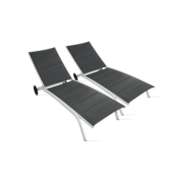 BOUTIQUE-JARDIN 2 bains de soleil en aluminium et textilène