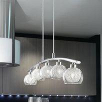 Eglo - Suspension 5 sphères en métal et verre avec fils argentés longueur 90.5cm Oviedo