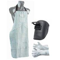 Proweltek - Pack protection soudure cagoule à visière relevable + tablier soudeur cuir + gants cuir manchette 15cm