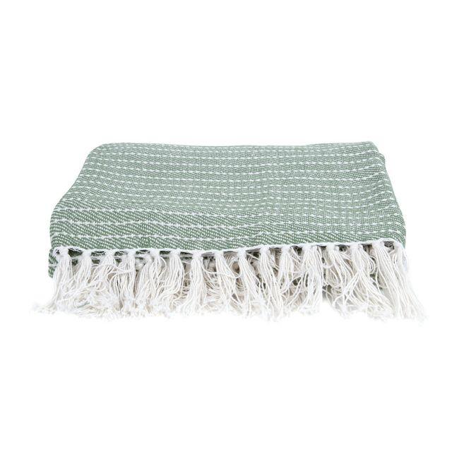 Present Time Plaid 100% coton à franges motif rayures 150x180cm Ease - Vert