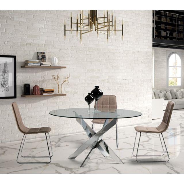 Tousmesmeubles Table de repas ronde 120 cm - Faxou - L 120 x l 120 x H 76