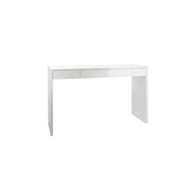 Bureau 3 tiroirs 120x40x77cm coloris blanc laqué