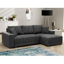 MARQUE GENERIQUE - Canapé d angle convertible en tissu et en simili JARED -  Bicolore d71448cc2214