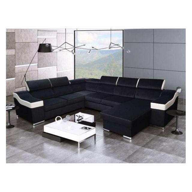 Générique Canapé d'angle panoramique gauche Passion noir et blanc
