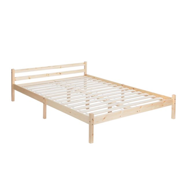 sans marque furnish1 lit cadre sommiers bois 140x190cm 140cm x 190cm pas cher achat vente. Black Bedroom Furniture Sets. Home Design Ideas