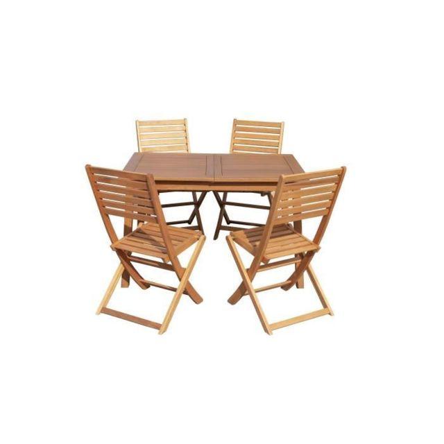 SALON DE JARDIN - ENSEMBLE TABLE CHAISE FAUTEUIL DE JARDIN Ensemble de repas de jardin 6 places - 1 table extensible + 6