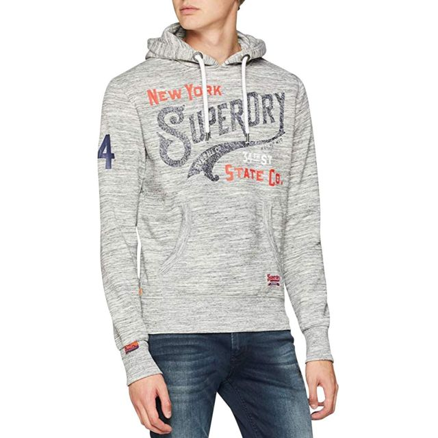 Superdry Sweat 34TH St Hood Gris pas cher Achat Vente
