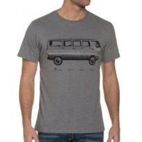 Loreak Mendian - Tee-Shirt Gris Impression Délavée Col Rond