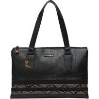 Lollipops - Yalley Large Shopper, Grand sac à main porté épaule effet cuir Snake Serpent - Noir - Femme