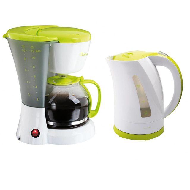 Domoclip Set petit déjeuner - Bouilloire 2200W 1.7L + Cafetière 12 tasses 800W - Blanc & Vert