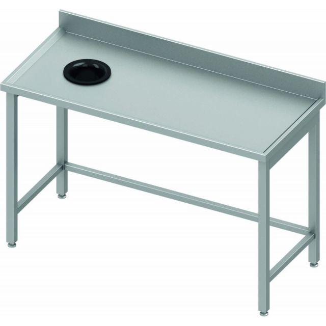 Materiel Chr Pro Table Inox avec Dosseret et Vide Ordure - Profondeur 700 - Stalgast - inox 800x700 700