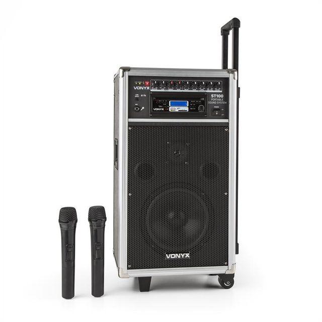 VONYX ST-100 MK2 Système sono portable Bluetooth CD USB SD MP3 Batterie UHF