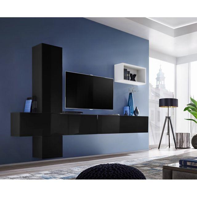 Paris Prix Meuble Tv Mural Design Blox Vi 280cm Noir Blanc
