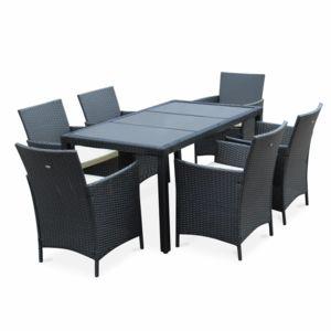 alice 39 s garden tavola 6 noir 6 places pas cher achat vente ensembles tables et chaises. Black Bedroom Furniture Sets. Home Design Ideas