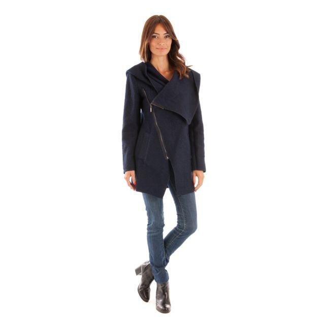 709dc26ed9dd1 Doucel - Le Comptoir du Manteau Manteau Mi Long Zippé Coté Femme Taille  Femme - 36
