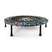 KLARFIT - Rocketbaby 5 - Trampoline compact motif fleuri avec surface de saut de 96cm, idéal pour l'apprentissage du trampoline en intérieur : chambre, salon