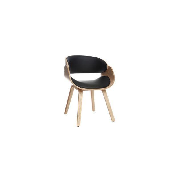 Miliboo Chaise design noir et bois clair Bent