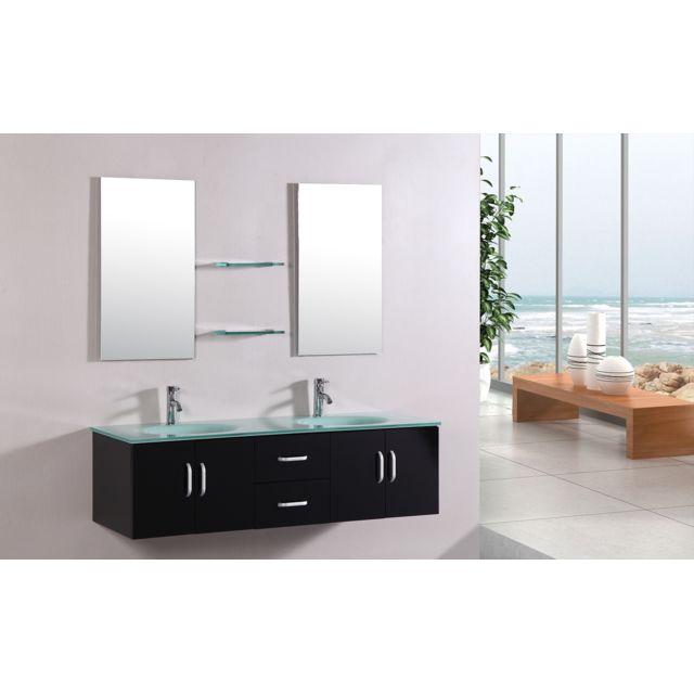Concept usine ensemble meuble salle de bain complet 39 gaia 39 2 vasques 2 miroirs pas cher - Meuble salle de bain rue du commerce ...