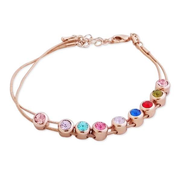 Totalcadeau - Bracelet 2 fils dorés aux 9 fausses pierres multicolores bijou  fantaisie pas cher Acier - pas cher Achat   Vente Bracelets - RueDuCommerce 1a376bb2b49d