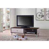 Price Factory - Meuble Tv Bodrum 120 cm avec une porte coulissante coloris  noyer   blanc 4ffa2e6409cb