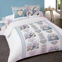 Dourev - Housse de couette Sweet Home Bleu en flanelle 240x260cm + 2 taies