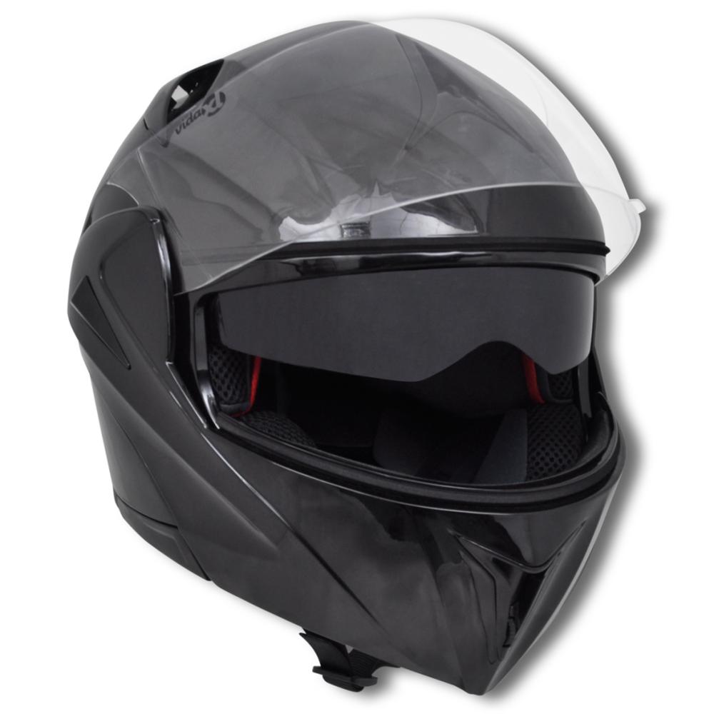 Casque de moto Noir S Double visière