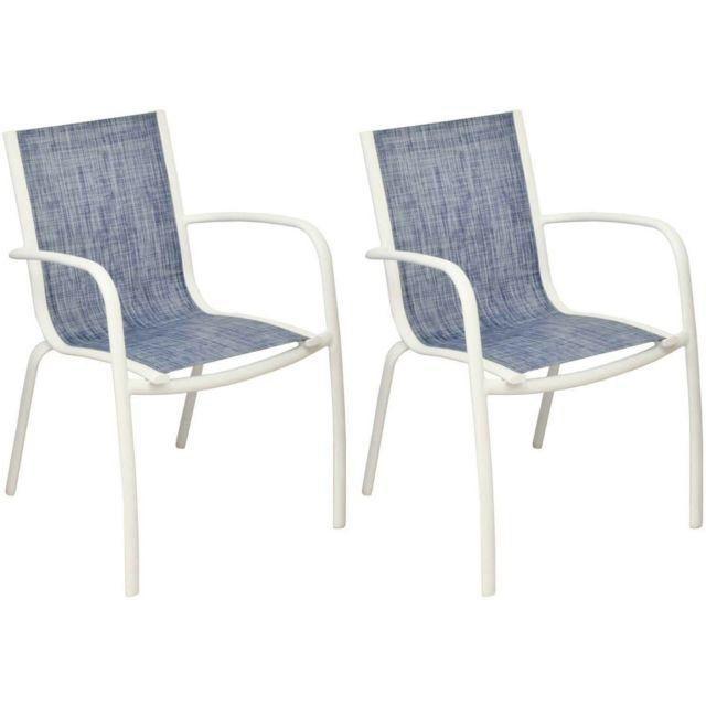 Fauteuil Linea en aluminium et textilène jean\'s Lot de 2