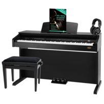 Classic Cantabile - Dp-210 Rh piano électrique noir mat, set dont tabouret, casques