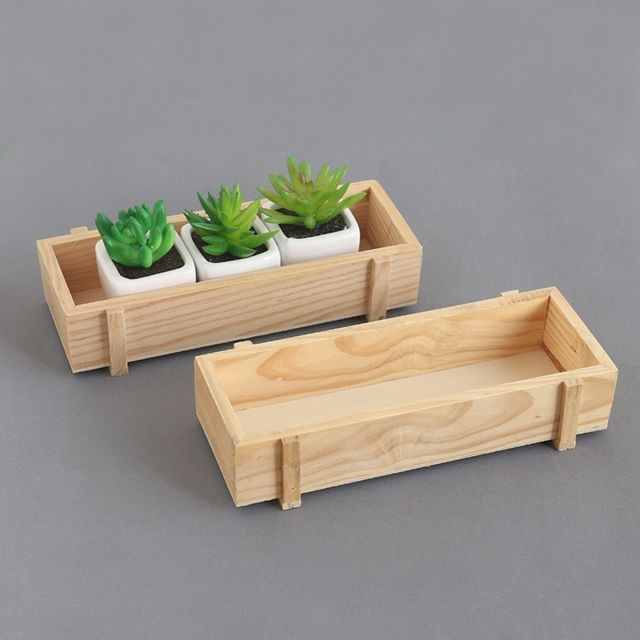 Wewoo Pots de fleurs succulentes en bois brut Accueil Boîte de rangement pour plantes de balcons Longues boîtes