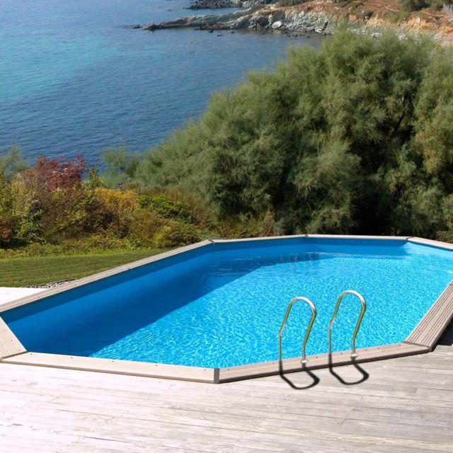 Sunbay piscine bois safran 6 37 m x 4 12 m x h 1 33 m couleur liner bleu pas cher achat - Piscine bois 6 x 4 ...