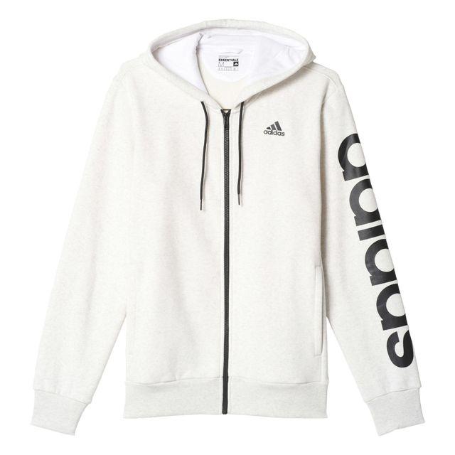 afa519b8a0fe3 Adidas performance - Veste À Capuche Linear Hoodie blanc, vêtements homme