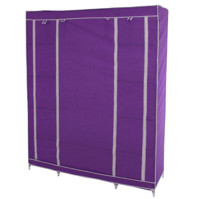 Mendler - Armoire pliable, penderie de camping, garde-robe en tissu, 173x135x45cm ~ lilas Violet - 45cm x 173cm x 135cm