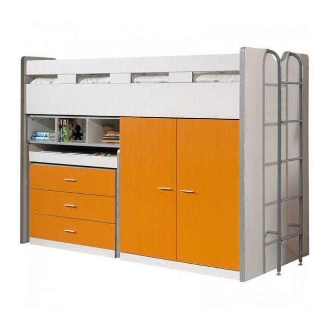 Vipack Lit mezzanine Bonny 90 x 200 cm Orange