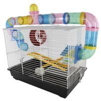 promo codes outlet store aliexpress Cage pour hamsters souris petits rongeurs 2 étages 2 échelles tunnels  maisonnette roue 62L x 29l x 52H cm acier blanc PVC noir