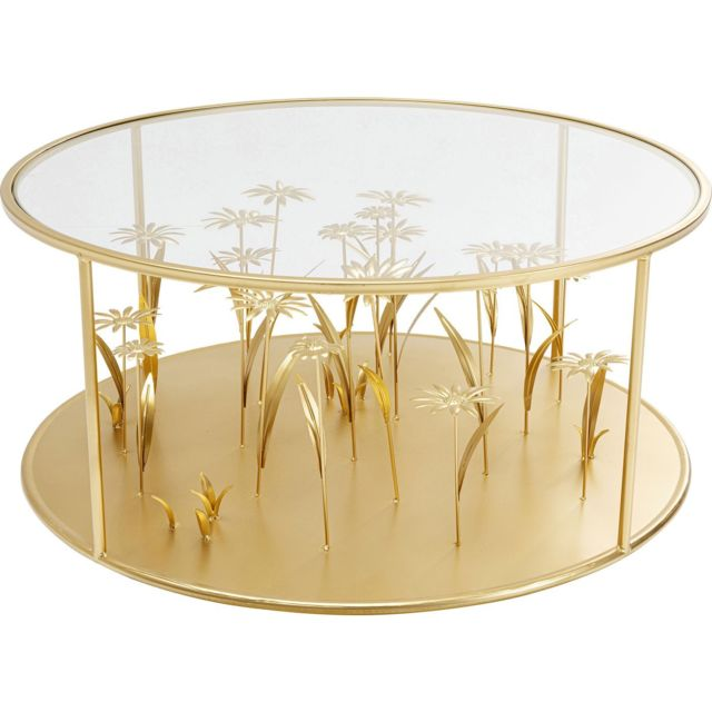 Karedesign Table basse fleurs 3D 80cm dorées Kare Design