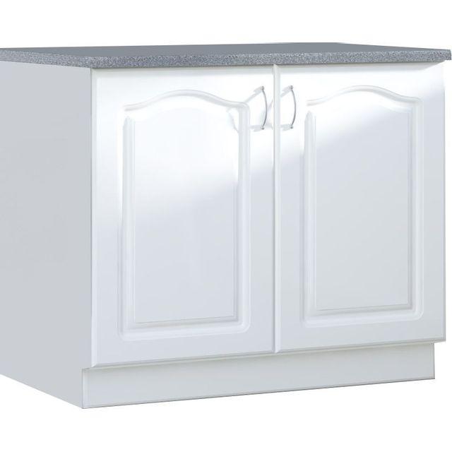 Comforium Meuble bas de cuisine style contemporain 100 cm avec 2 portes coloris blanc