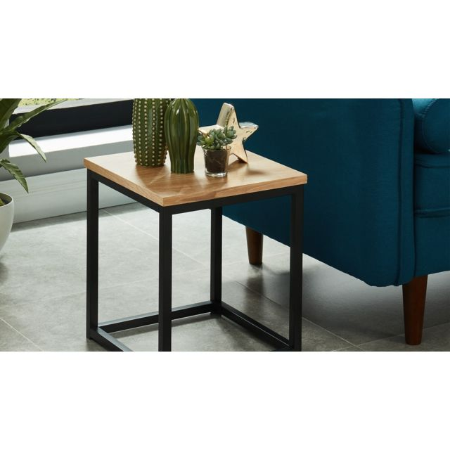 HOMIFAB Table d'appoint industrielle 35x35x40 cm - Collection Brixton