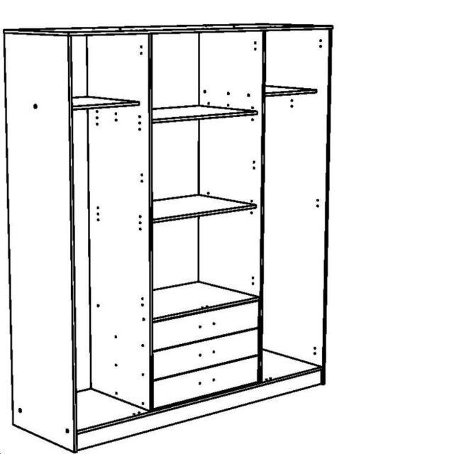 Last Meubles - Rangement 4 portes 3 tiroirs Tornade 55cm x 202cm x 176cm