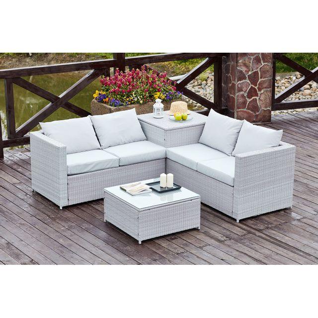 rocambolesk silang gris clair salon de jardin en r sine tress e 4 personnes avec coffre. Black Bedroom Furniture Sets. Home Design Ideas