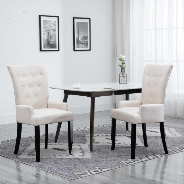 Chaises de salle à manger avec accoudoirs 2pcs Beige Tissu