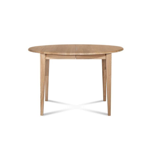 HELLIN Table ronde extensible bois à rallonges - 105 cm - Pieds fuseau - VICTORIA