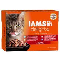 Iams - Delights multibox Saveurs Terre et Mer en gelée Land & sea Collection Toutes Races - 12x85 g - Pour chat adulte