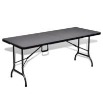 Vidaxl - Table de jardin pliable noire 180 cm imitation rotin - pas ...