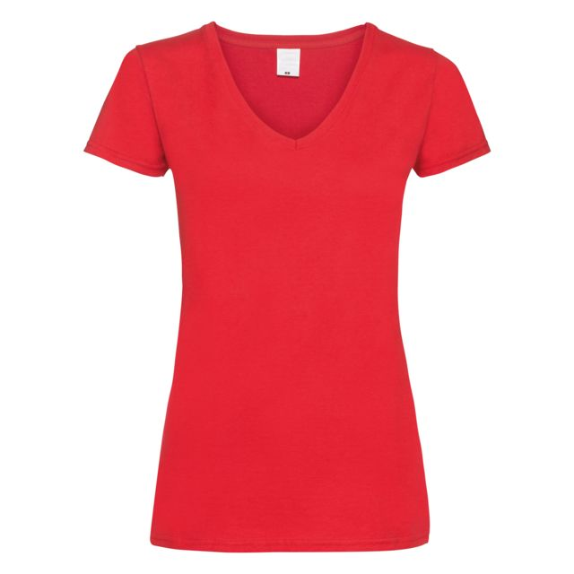 GENERIC T-shirt à col V et manches courtes - Femme XS, Rouge vif Utbc3905