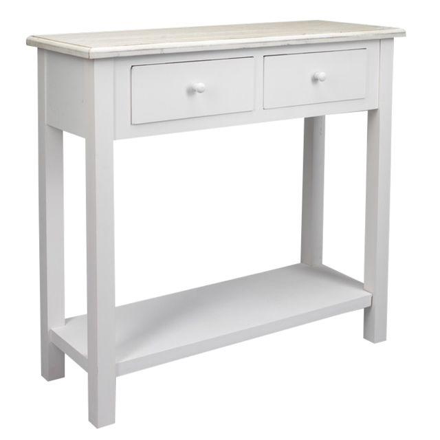 simla - console 2 tiroirs 1 étagère en bois blanc - pas cher achat