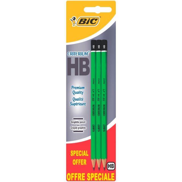 BIC - Lot de 3 crayons à papier Criterium 2HB - Pointe moyenne