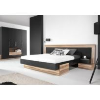 House and Garden - Lit Bois Design Black Avec 2 Chevets