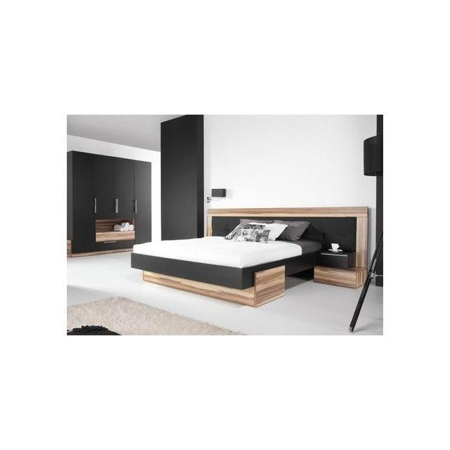 House and Garden - Lit Bois Design Black Avec 2 Chevets - pas cher ...